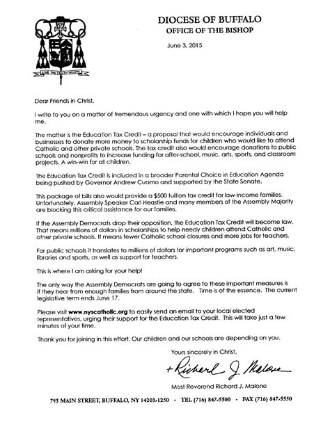Tax Credit Compliance Letter 2015 Letter From Bishop Malone Education Tax Credit Blessed Catholic Church