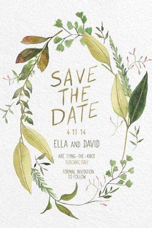 Leaf Themed Wedding Invitations by Green Leaf Water Colour Wedding Invitation Brides Of