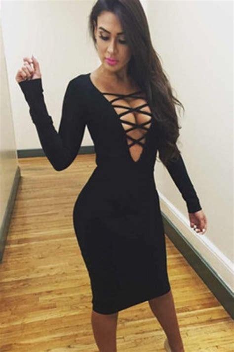 Dres V dress bold v neck evening dress wots right now