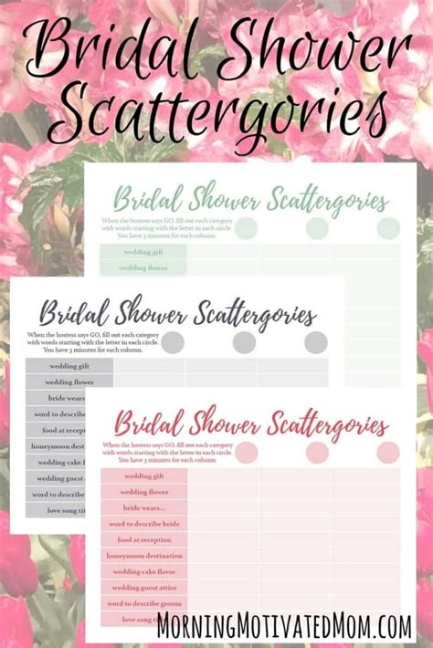 bridal shower play bridal shower and free scattergories printable morning motivated