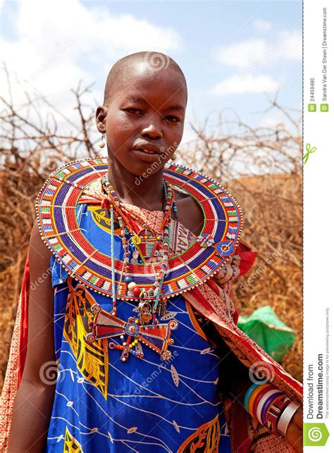 trending ladies wear kenya masai woman is showing traditional clothes editorial image