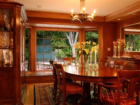 rich wood formal dining room  large bay window oval