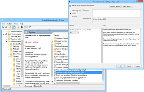 prevent access to registry editor in windows 8 7