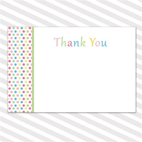 Baby Shower Blank Thank You Cards Note Polka Dots Boy Girl Blank Thank You Card Template