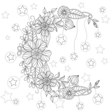 Floral Moon Coloring Page Design Ms Adult Coloring Pinterest Adult Coloring Svg File Coloring Designs For