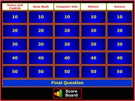 Style Classroom And School Parties On Pinterest Easy Jeopardy Template
