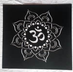 Om Lotus Mandala Reusable Plastic Lotus Stencil Mandala Om Sanskrit Om