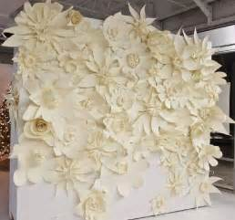 Big Paper Flowers - wedding backdrop white paper flowers pinned on the
