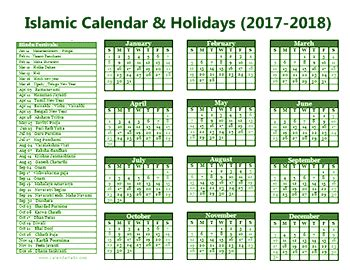 islamic calendar with muslim holidays 2017 2018