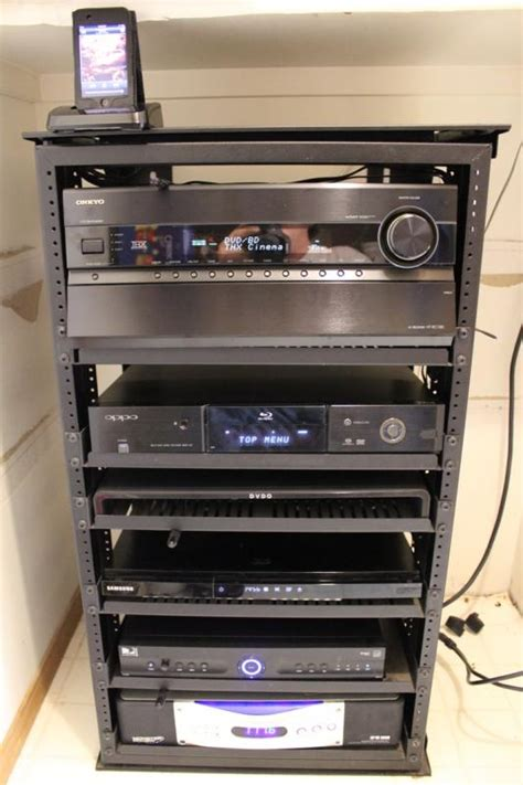 Media Closet Rack by Home Theater Rack In A Closet Onkyo Receiver W Ipod Dock Ht Rc180 Oppo Player
