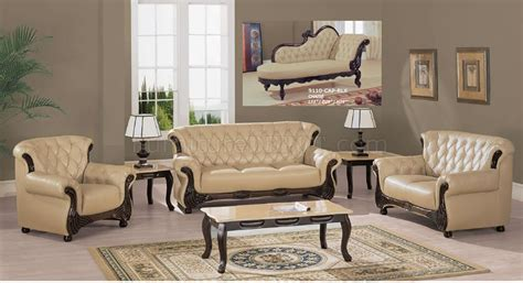 Beige Sofa Living Room Beige Leather Living Room Sofa W Cappuccino Wooden Accents