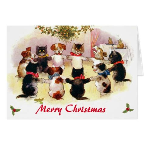 funny vintage merry christmas cats  dogs card zazzle