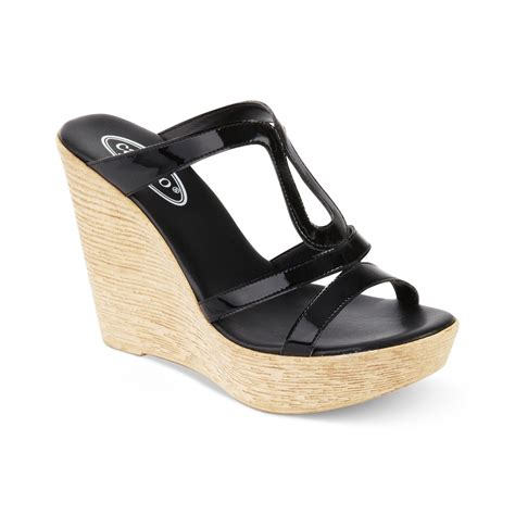 wedge sandals callisto platform wedge sandals in beige black lyst