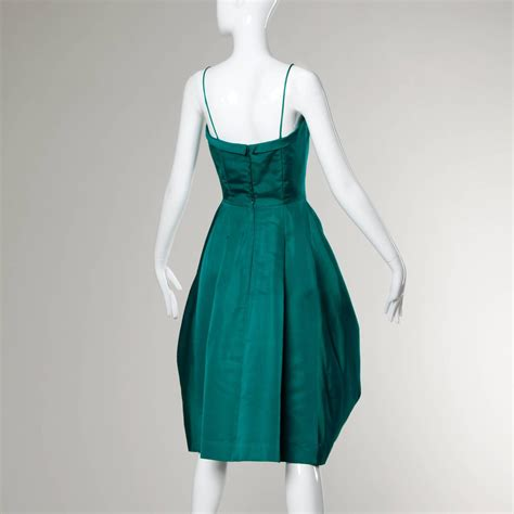 Origami Evening Dress - suzy perette vintage 1950s green silk cocktail dress with