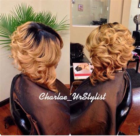 how to layer curly hair in a sew in ombre curls bob invisiblepart bob weave hairstyles
