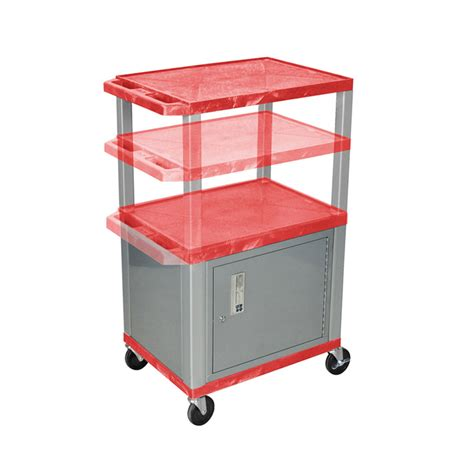 Multi Shelf Cart by Luxor Wt2642rc4 N 3 Shelf Multi Height Cart With Cabinet