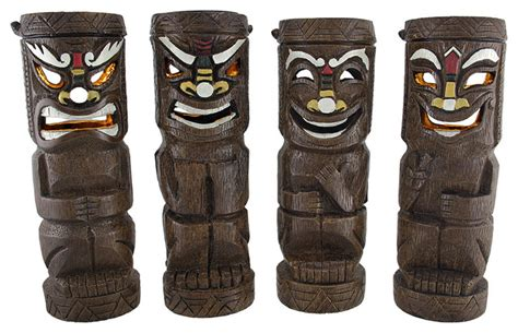 Flickering Friki Tiki Solar Powered Statue Lights Set Of Friki Tiki Solar Lights