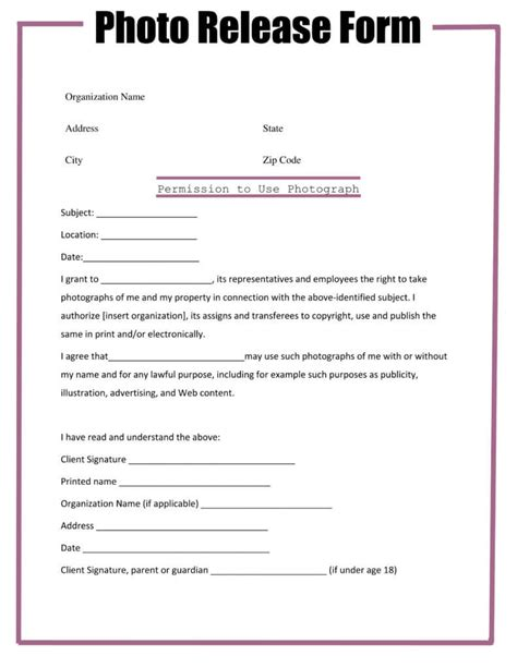 photographer copyright release form template free photographer photo release form