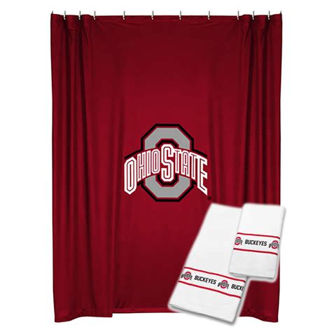 Ohio State Bathroom Accessories 3pc Ncaa Ohio State Buckeyes Shower Curtain And Bath Towels Set College Team Logo Bathroom