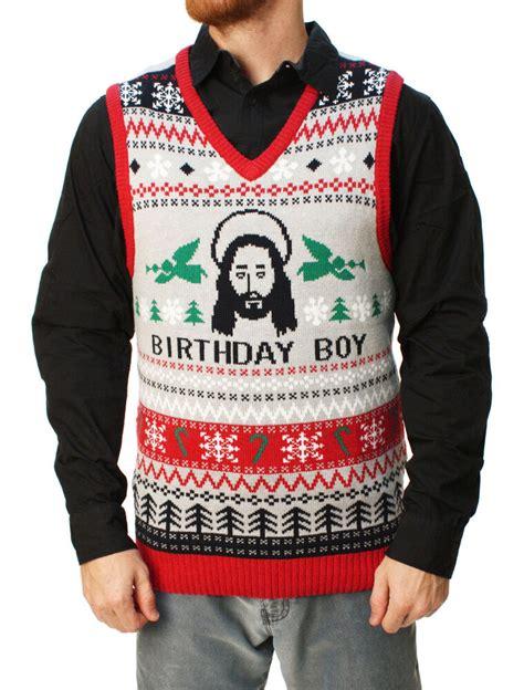 ugly christmas sweater mens jesus birthday boy vest ebay