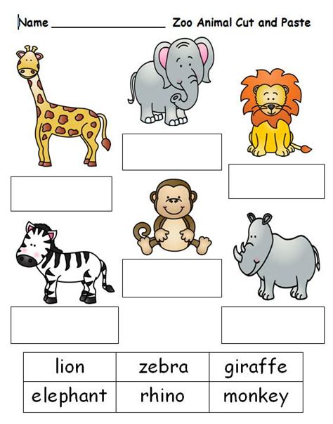 free printable zoo animal pictures free cut and paste worksheet on zoo animal names see this