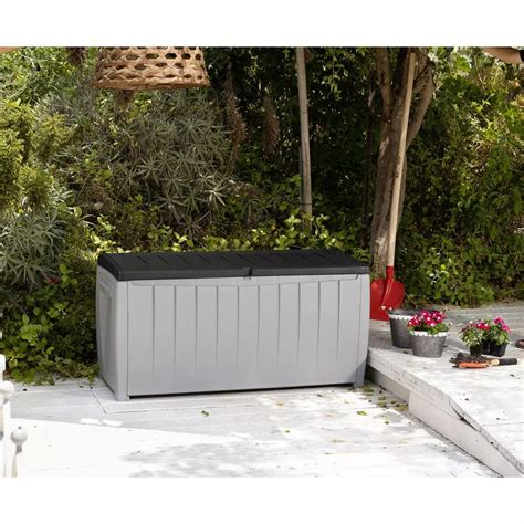 keter plastic garden bench box with storage keter noval garden 340l storage box outdoor patio shed
