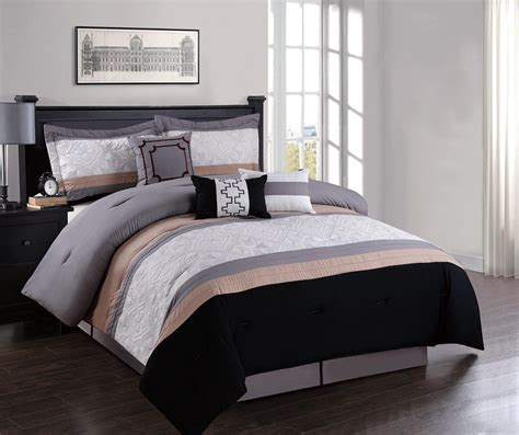 7 piece geometric embroidered comforter set ebay