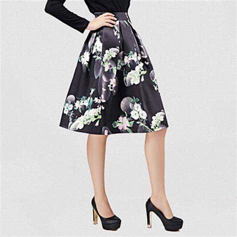 Floral A Line Midi Skirt vintage black floral print a line midi skirt high
