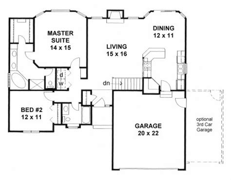 2 bedroom house plans with garage and basement plan 1273 2 bedroom w walk in closets and bay windows