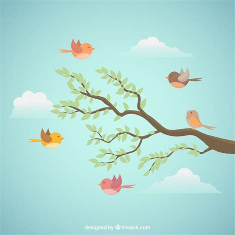 bird background flying bird background with branch vector free
