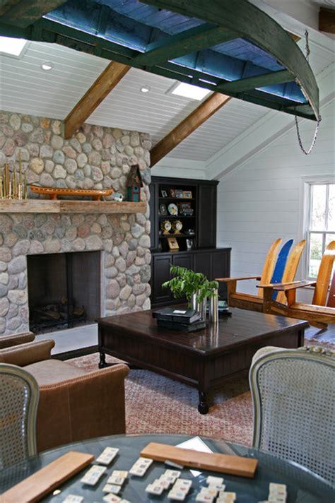 boat house living room traditional living room milwaukee  interior  home design