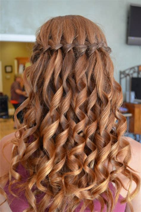 homecoming hairstyles waterfall braid curled waterfall braid hairstyles products pinterest