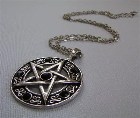 pentagram necklace pentacle necklace black crystals