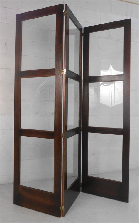 Mid Century Room Divider Unique Mid Century Modern Glass And Hardwood Room Divider Folding Screen At 1stdibs