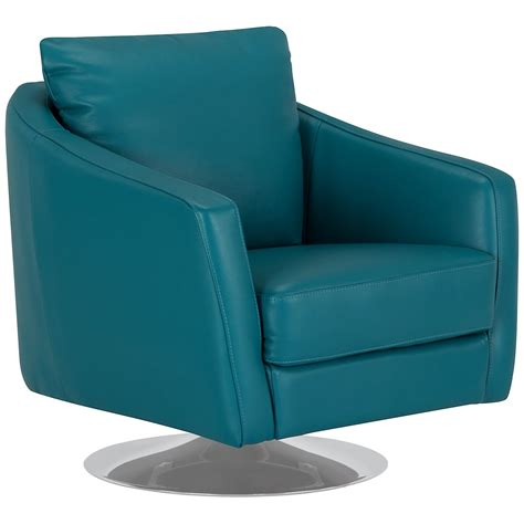 City Furniture Luca Teal Leather Swivel Accent Chair Teal Swivel Chair