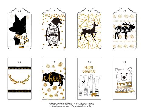 printable deer gift tags woodland christmas printable gift tags black and gold