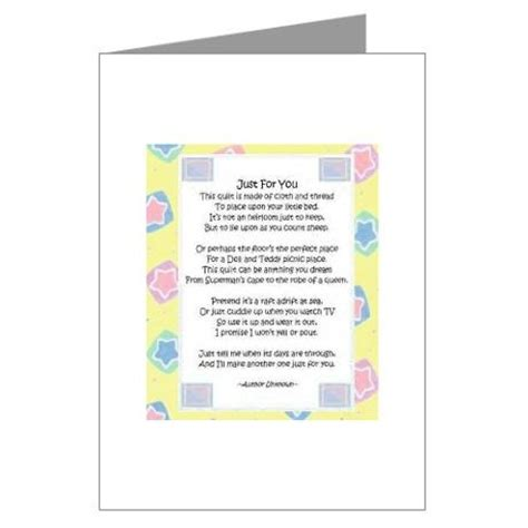 Baby Quilt Poem by Quot Just For You Quot Greeting Cards Pk Of 10