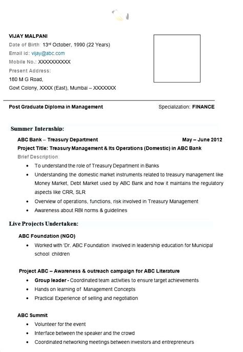 Mba Fresher Resume Format Free by Mba Finance Resume Exle With Free Template