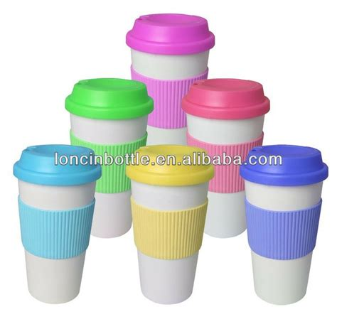 Mug Plastik Brazil 12oz wall ceramic cup with silicone lid and sleeve
