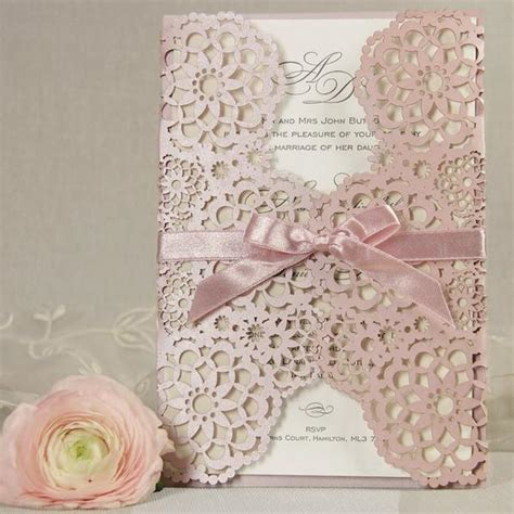 Pink Blush Lace Laser Cut Wedding Invitations All In One Invitation Rs laser cut cartalia