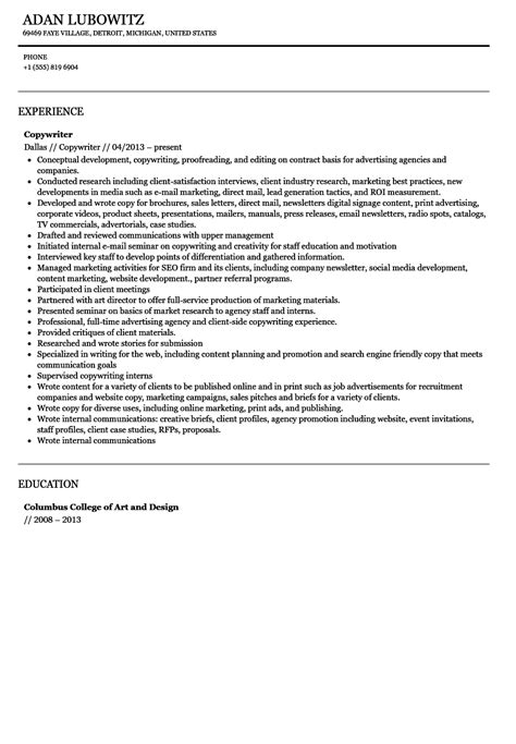 Copywriter Resume by Copywriter Resume Sle Velvet