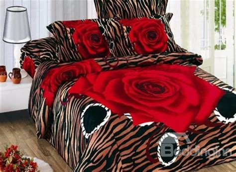 red leopard comforter set new arrival stunning red rose and leopard print 4 piece