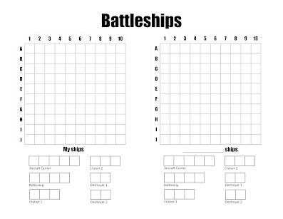 Table Drawing Coloring For Kids Battleship Template