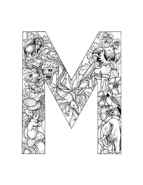 alphabet coloring pages m detailed alphabet coloring page these are cool