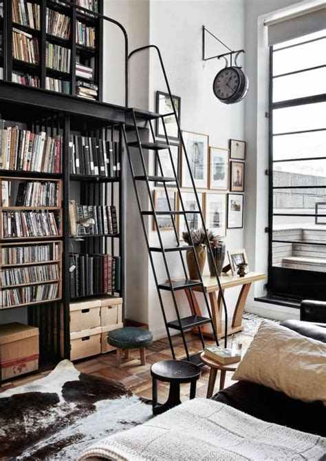 home library ladders interior design ideas glam art deco apartment in muted colors digsdigs