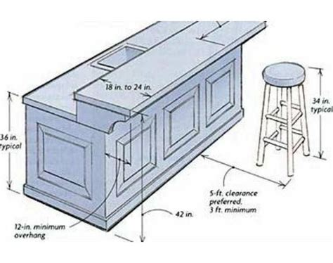 standard kitchen island dimensions building a breakfast bar dimensions garage pinterest