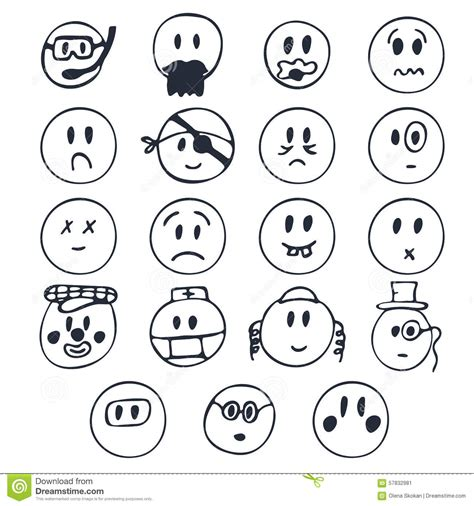 hand drawn faces   emotions set  cute
