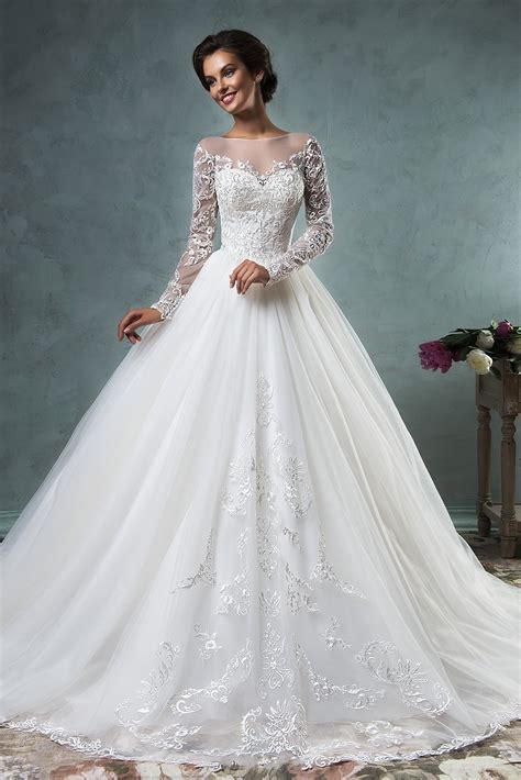 2019 a line wedding dresses sheer neck lace long sleeves