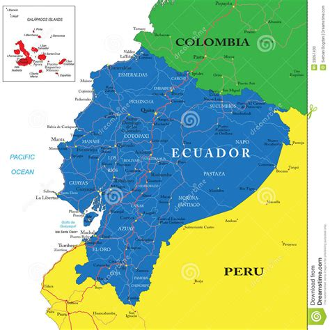 printable road map of ecuador ecuador map stock photo image 33057430
