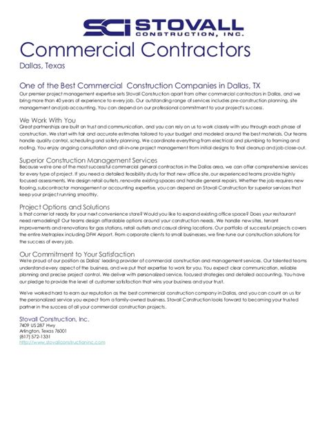 companies that write resumes commercial construction company dallas